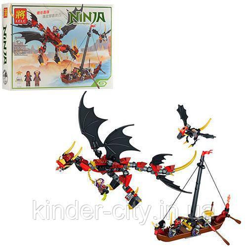 "Конструктор Ninja ""LELE"" 31014 ""Нападение Дракона""  дракон ,ниндзя, лодка, 329дет, в кор"