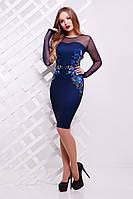 Платье Донна2 вышивка д/р,  (2цвета), облегающее платье, сукня, фото 1
