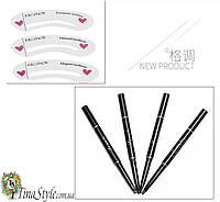 Комплект трафареты и карандаш для бровей с щеткой 3 цвета черный коричневый цвет суперстойкий набор формы