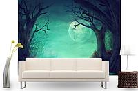 """3D фотообои """"Луна, деревья, тыквы"""""""