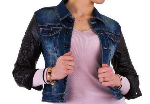 Женская джинсовая куртка с кожаными рукавами Mozzaar (Европа) Эксклюзив!!! Синий