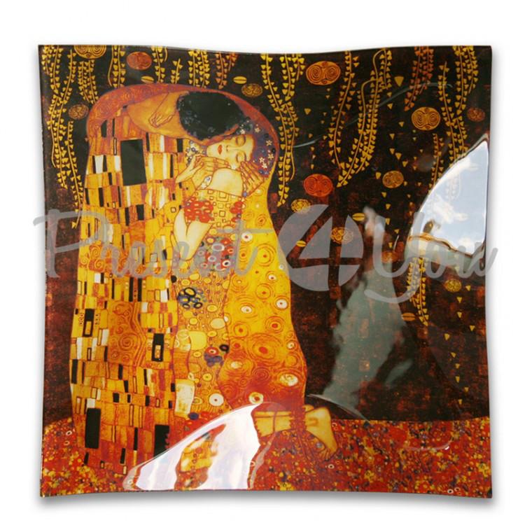 Стеклянная тарелка Г.Климт «Поцелуй» Carmani, 30х30 см (198-1501)