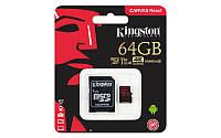 Карта памяті Kingston 64GB microSDXC C10 UHS-I U3 R100/W80MB/s + SD (SDCR/64GB)