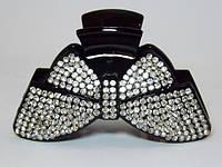Краб для волос, черный с белыми стразами, размер 9х5 см