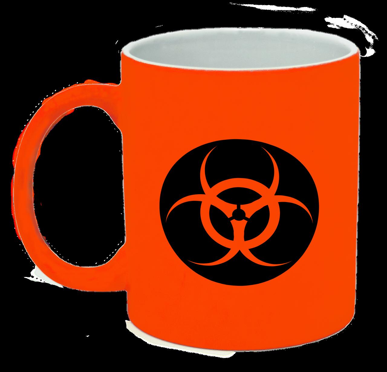 Неоновая матовая чашка Биологическая опасность в круге, ярко-оранжевая