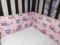 Детские подушки -бортики в кроватку совы на розовом