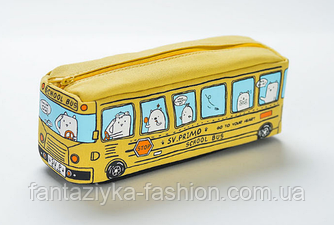 Пенал школьный Автобус желтый