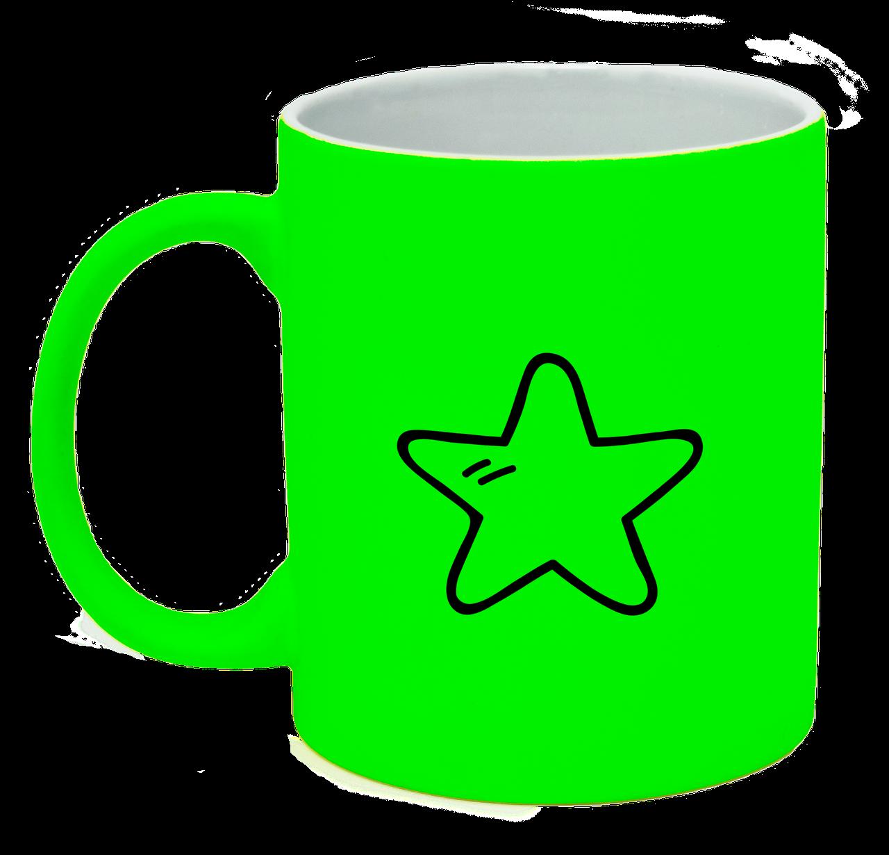 Неоновая матовая чашка Звездочка, ярко-зеленая