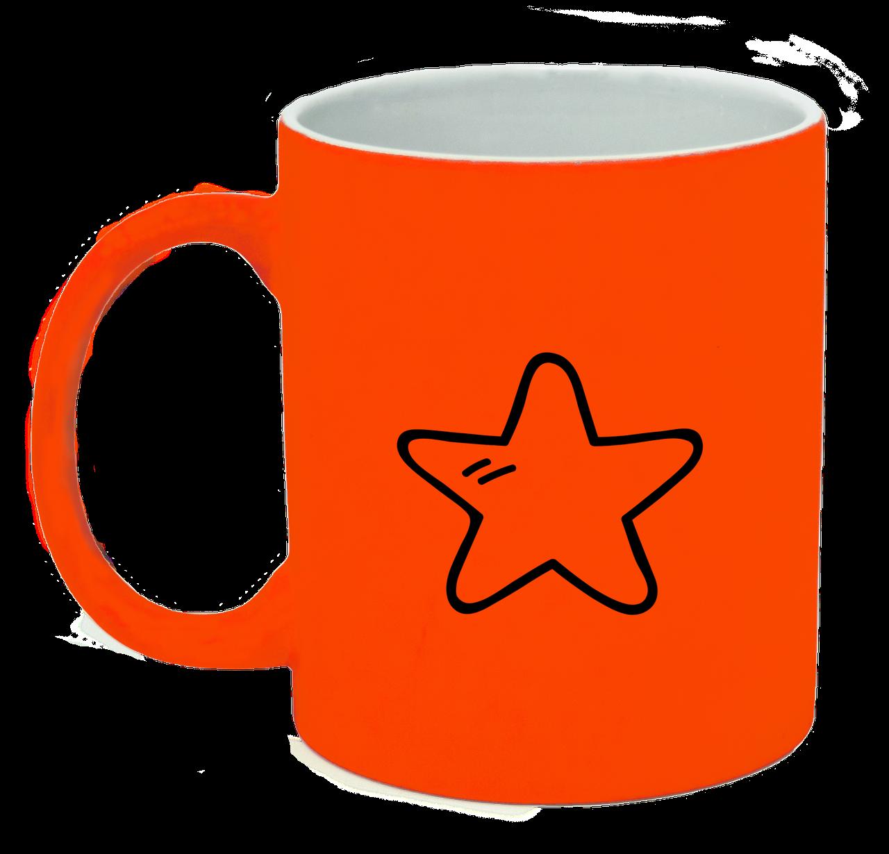 Неоновая матовая чашка Звездочка, ярко-оранжевая