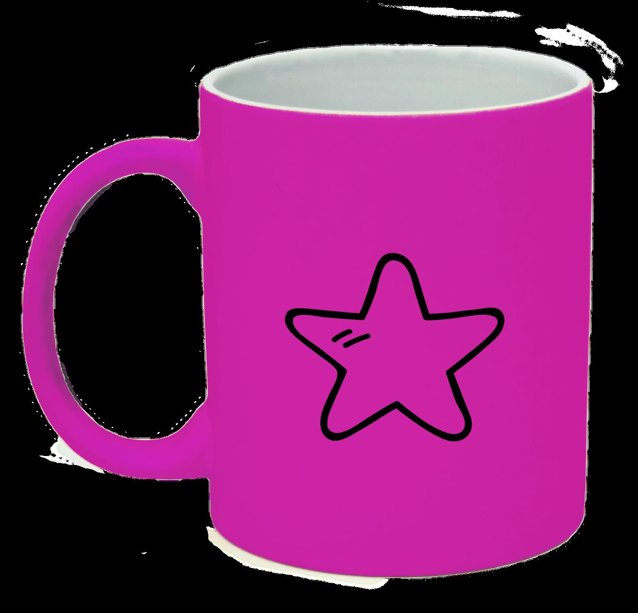 Неоновая матовая чашка Звездочка, ярко-розовая