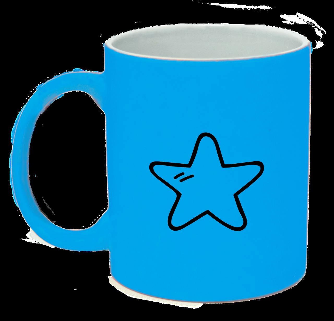 Неоновая матовая чашка Звездочка, ярко-голубая