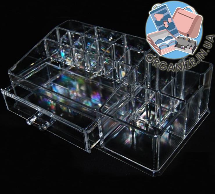 Акриловый прямоугольный органайзер для косметики и украшений с ящичком Cosmetic organizer РАСПРОДАЖА