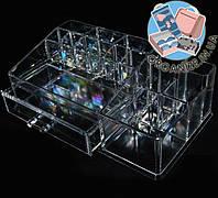 Акриловый прямоугольный органайзер для косметики и украшений с ящичком Cosmetic organizer