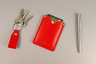 Карман для карт и визиток (красная гладкая кожа)