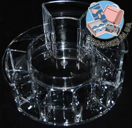 Круглый акриловый органайзер с ячейками для косметики Cosmetic organizer