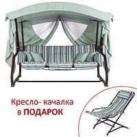 Садовые качели «Алиса» голубая полоса + кресло-качалка в подарок!, фото 1