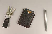 Карман для карт и визиток (черная фактурная кожа)