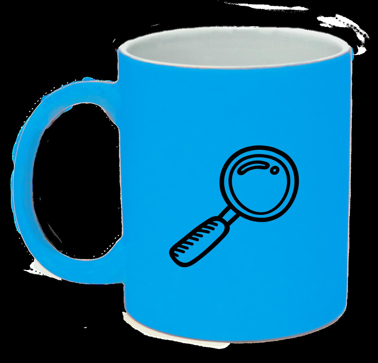 Неоновая матовая чашка Исследователь, ярко-голубая