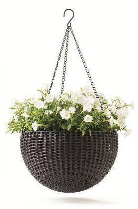 Горшок для цветов 8,6 л. Rattan style hanging sphere planter, фото 2