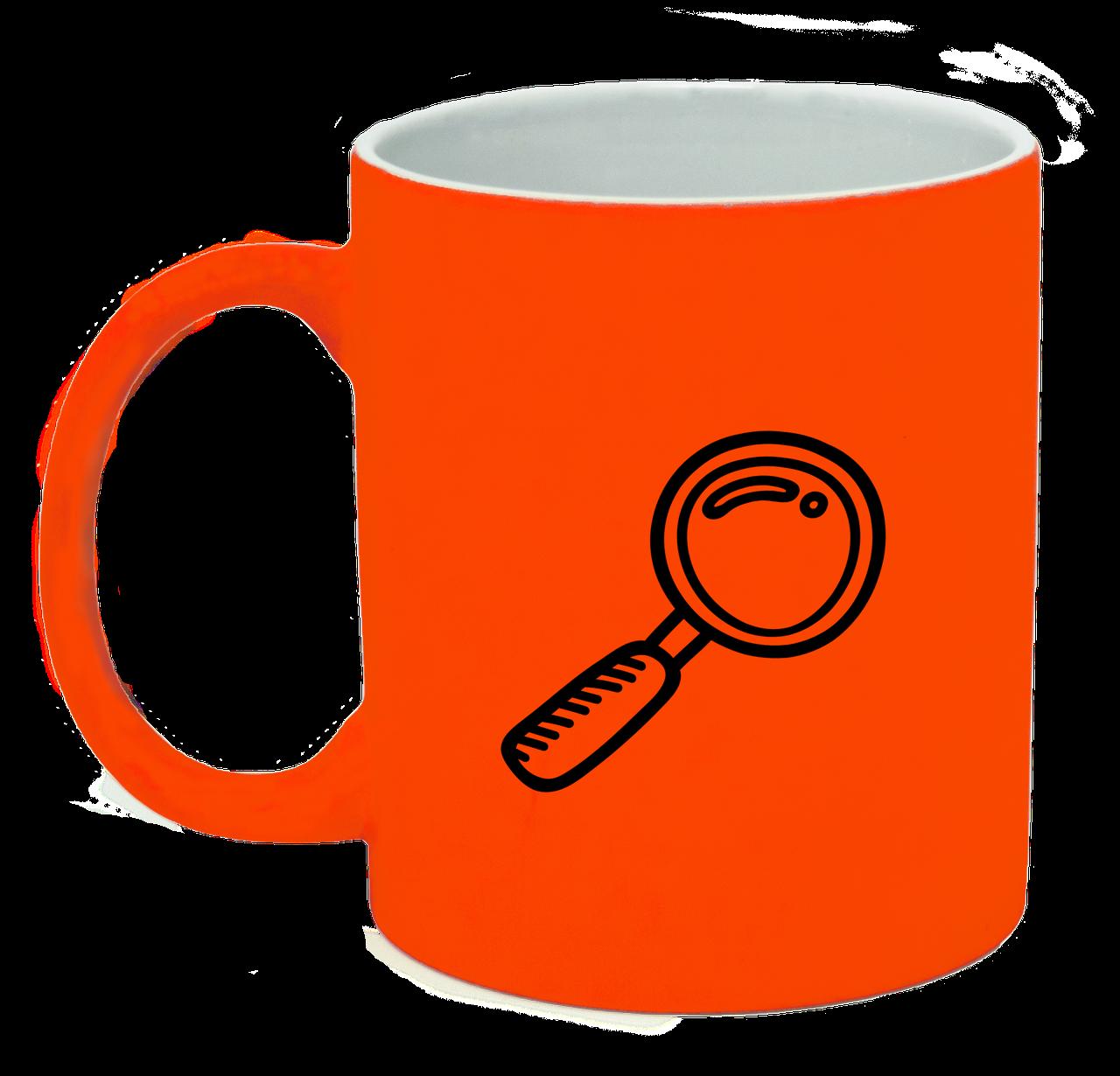 Неоновая матовая чашка Исследователь, ярко-оранжевая