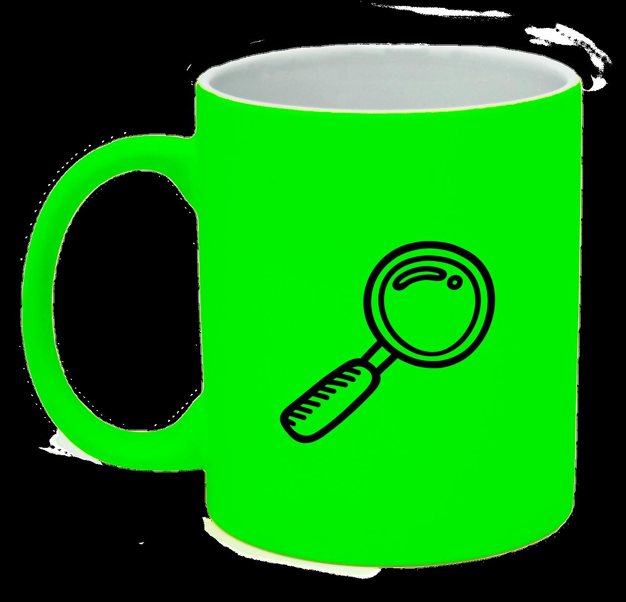 Неоновая матовая чашка Исследователь, ярко-зеленая