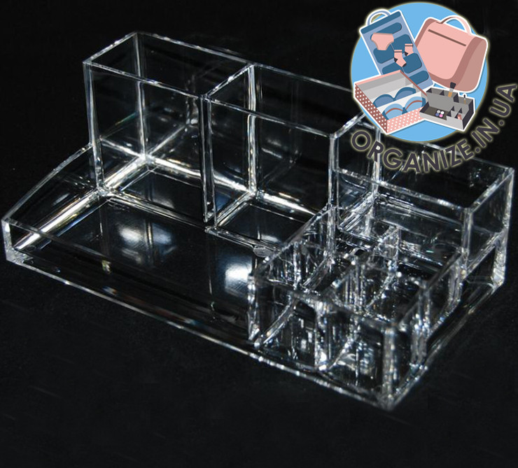 Прямоугольный акриловый бокс с ячейками для косметики  Cosmetic organizer