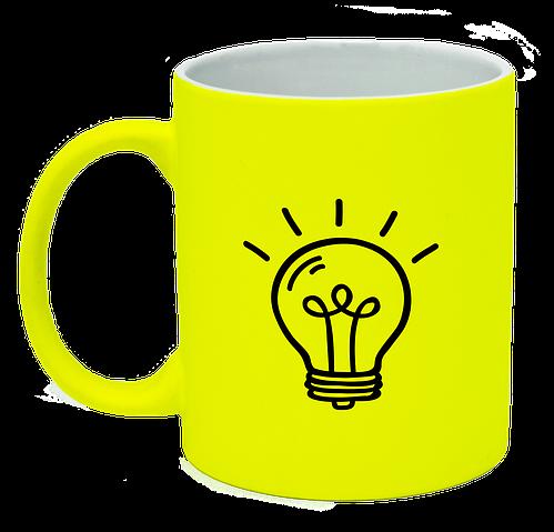 Неоновая матовая чашка Лампочка, ярко-желтая