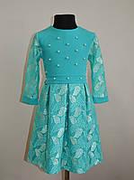 Нарядное детское платье на девочку мятного цвета 134