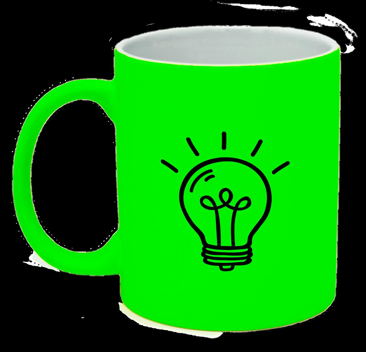 Неоновая матовая чашка Лампочка, ярко-зеленая