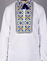 Мужская вышитая сорочка на домотканном полотне c сине-голубым узором, фото 1