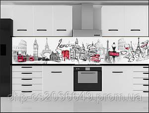 Стеклянный фартук для кухни - скинали Лондон, Париж, Рим