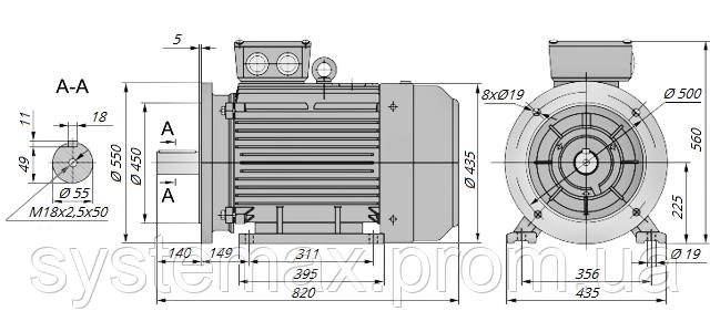 АИР225М2 / АИР 225 М2 / IM 2081 / IM2081 / комб / комбинированный / фланцевый / 55 кВт / 3000 об/мин