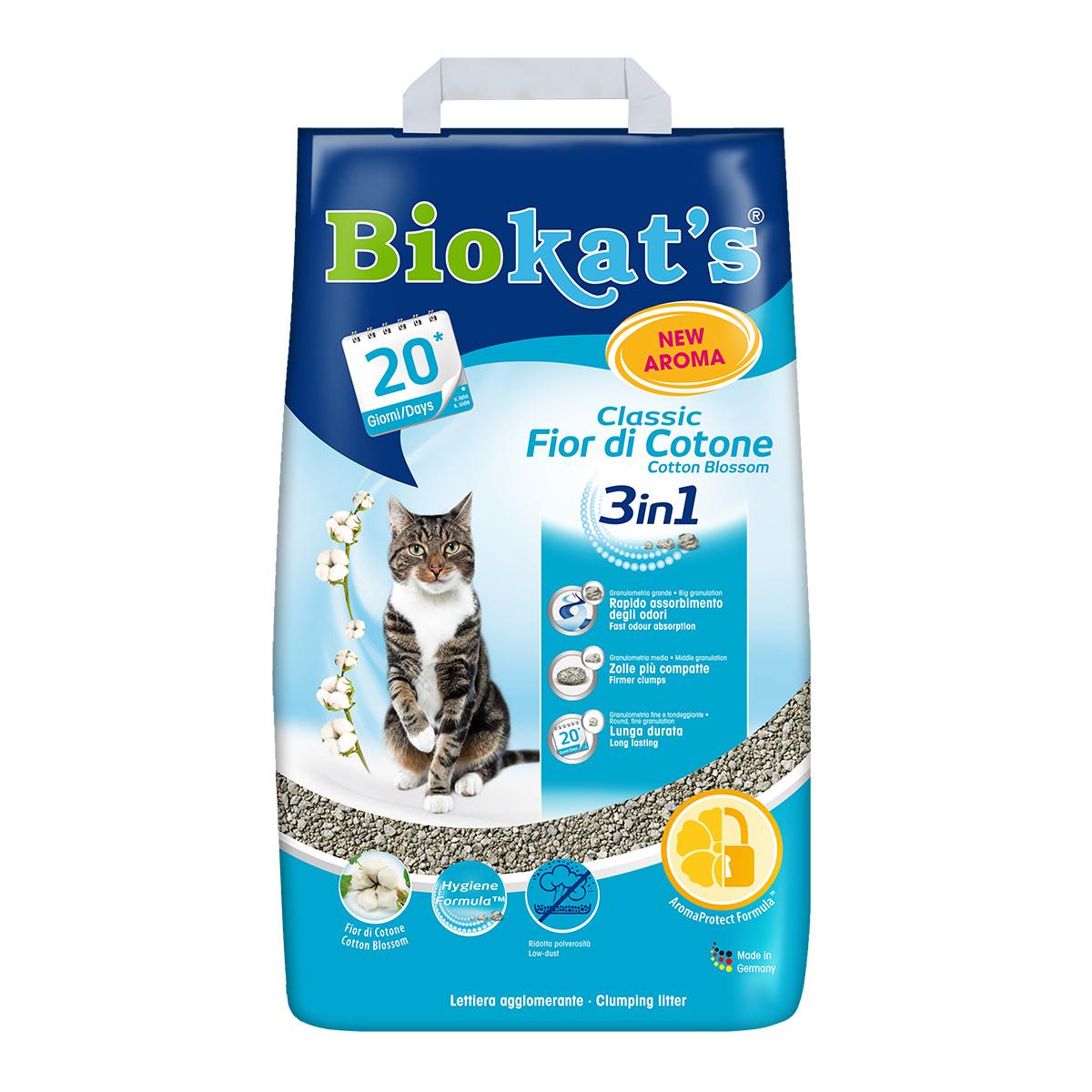 Песок Biokat`s (Биокатс) CLASSIC 3in1 FIOR di COTTON 10кг (бентонитовый)- наполнитель туалета для кошек