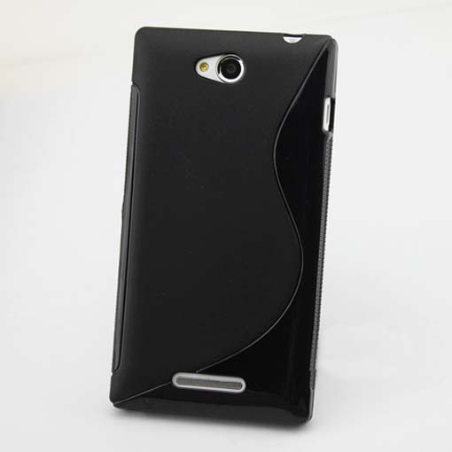 Чехол Wave для телефона Sony Xperia C S39h C2305. Черный цвет. Бампер. Накладка