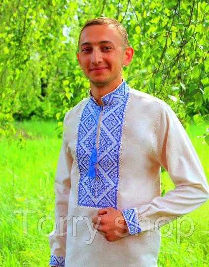 Мужская вышитая сорочка на сером лене