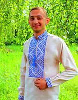 Мужская вышитая сорочка на сером лене, фото 1