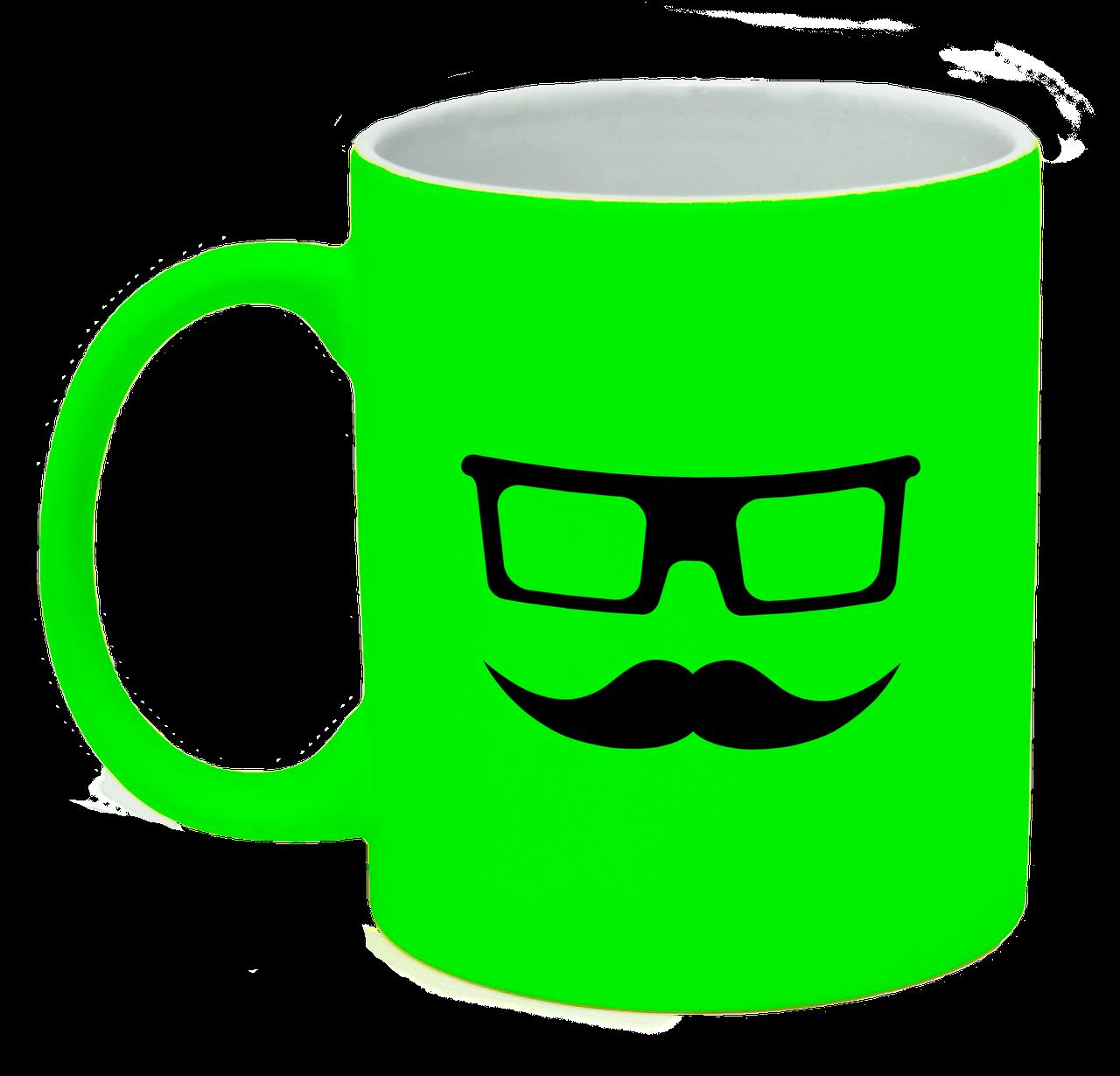 Неоновая матовая чашка Очки и усы, ярко-зеленая