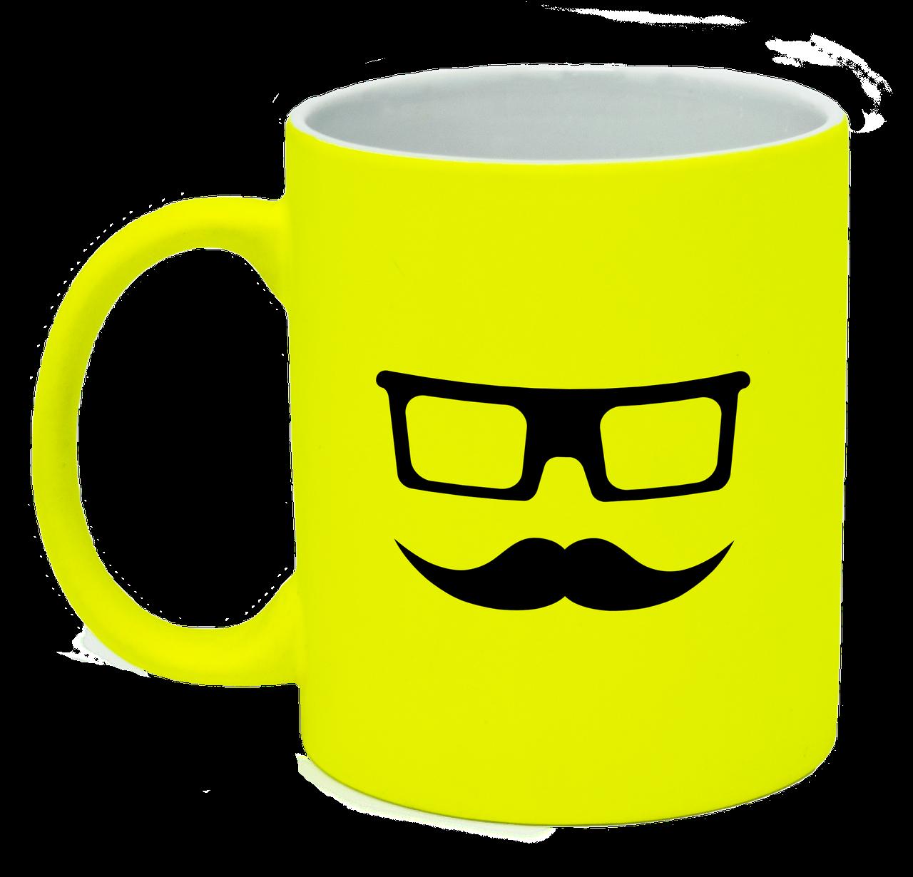 Неоновая матовая чашка Очки и усы, ярко-желтая