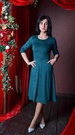 Нарядное замшевое платье миди размер (44-52), фото 1