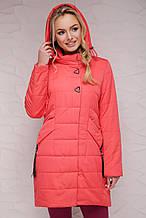 Стильная женская куртка весна-осень 17-139 коралл(42-48)