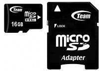 Карта памяти Micro SDHC 16GB Class 10 Team + SD-adapter (TUSDH16GCL1003)