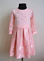 Нарядное детское платье для девочек персикового цвета 134