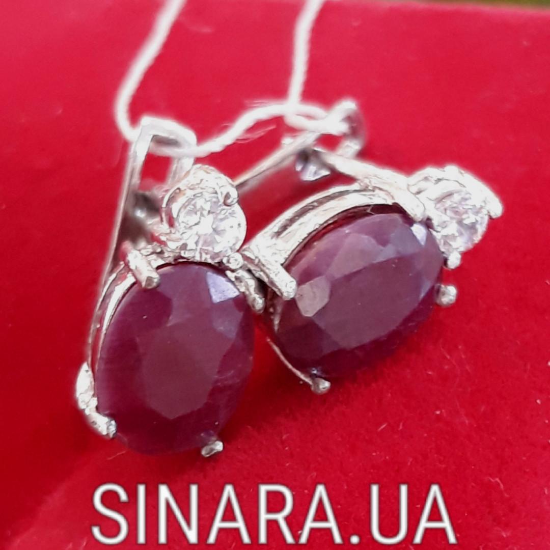 Серебряные серьги  c рубином