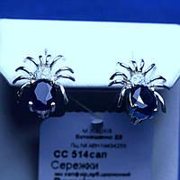 Серебряные серьги Паук с синим цирконием сс 514сап, фото 1