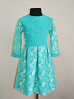 Нарядное детское платье на девочку мятного цвета, фото 1