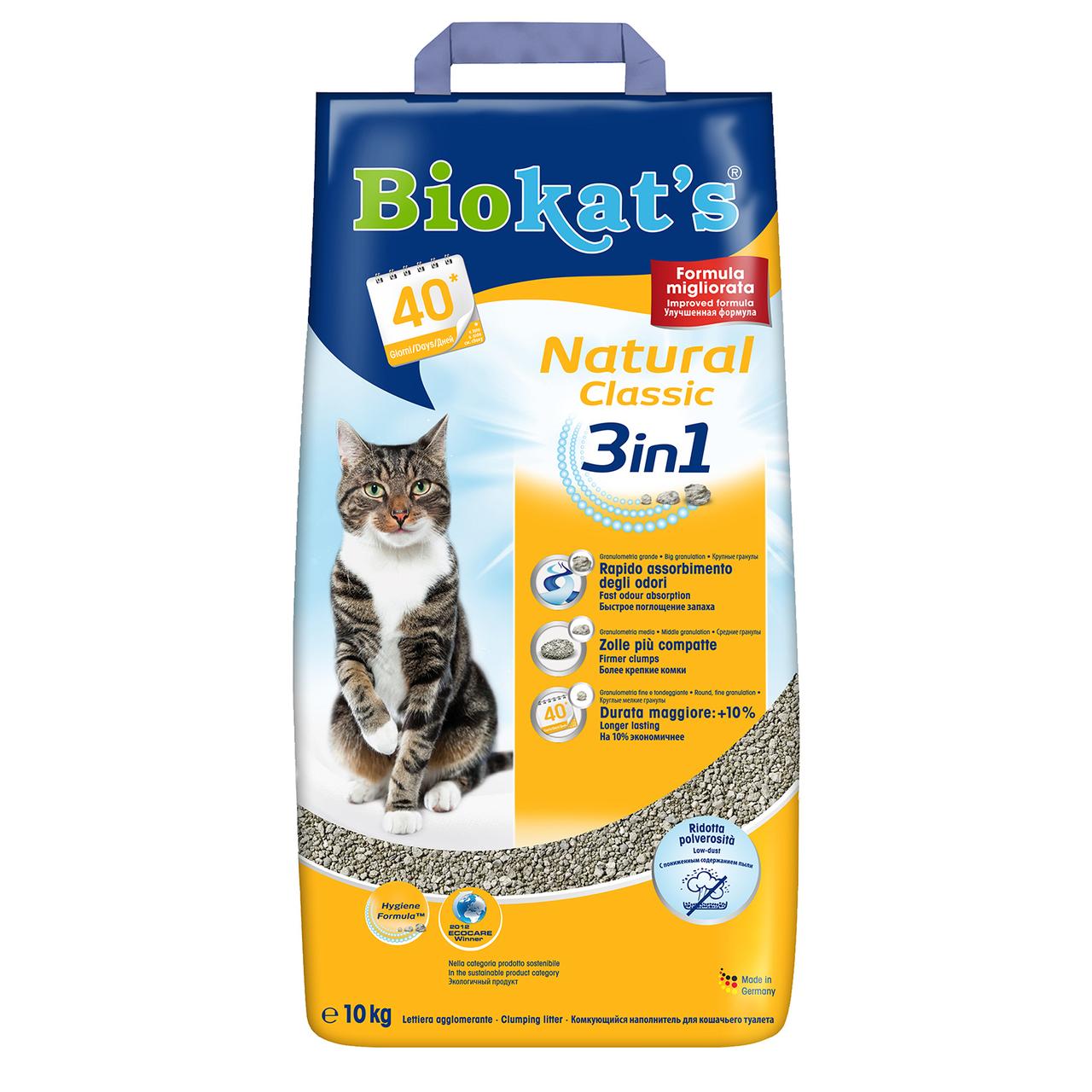 Песок Biokat`s (Биокатс) NATURAL 10кг (бентонитовый) - наполнитель туалета для кошек