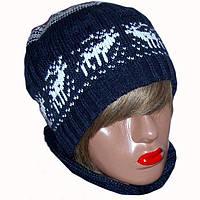 """Вязаная зимняя шапка с норвежским орнаментом """"олени"""""""