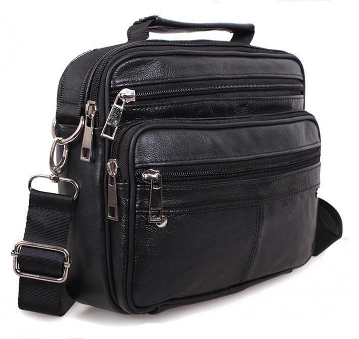 525557c52882 Кожаная мужская сумка через плечо Black205 черная барсетка 23х19х6см ...