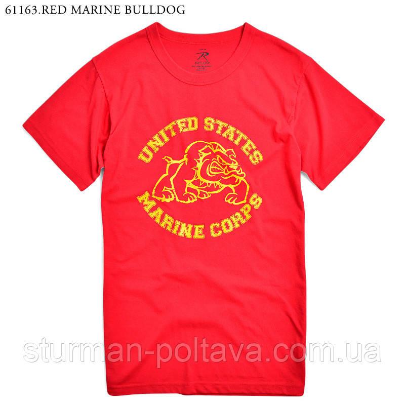 Футболка мужская  с эмблемой Морской крпус красная   Rothco    VINTAGE RED U.S. MARINE BULLDOG