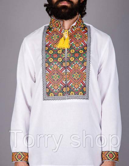 Мужская вышитая сорочка на домотканном полотне в етно-стиле